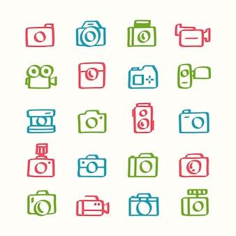カメラアイコンのイラストセット