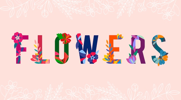 花模様の文字ベクトル