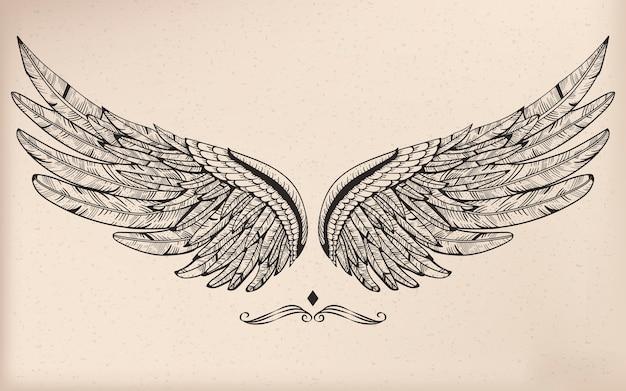 Винтажное векторное крыло