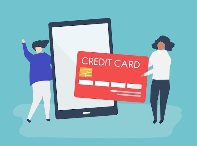 オンラインでのクレジットカード取引のイラストレーションをする人々