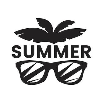 夏と休日のタイポグラフィのイラスト