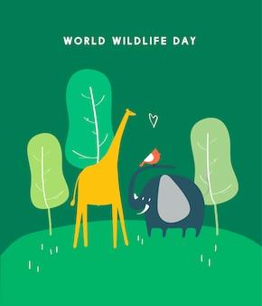 世界の野生生物の日の概念のイラスト