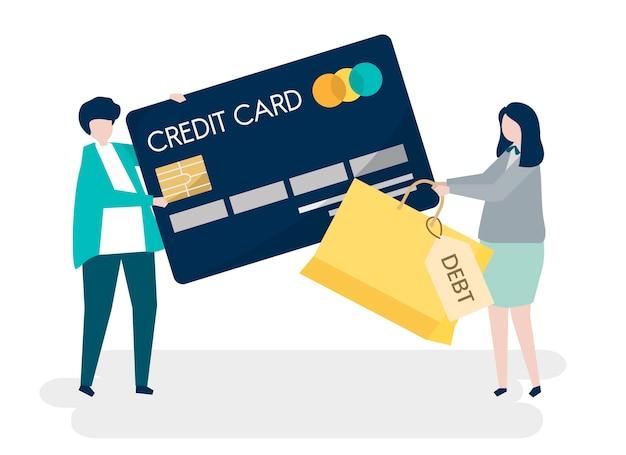 人々のキャラクターとクレジットカードの負債概念のイラスト