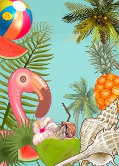 熱帯植物と果物の背景