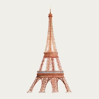 フランスのエッフェル塔水彩画
