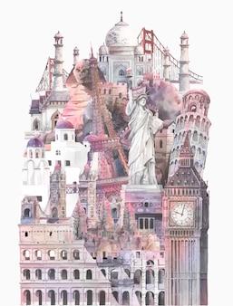 水彩で描かれた建築的ランドマークのコレクション