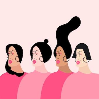 様々な髪型ベクトルのイラストを持つ女性