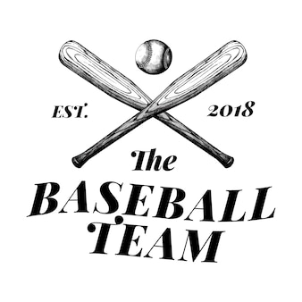 野球チームのロゴデザインベクトル