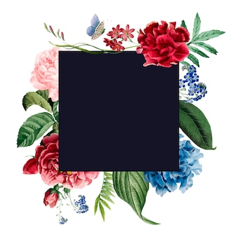花のフレーム招待状のデザイン