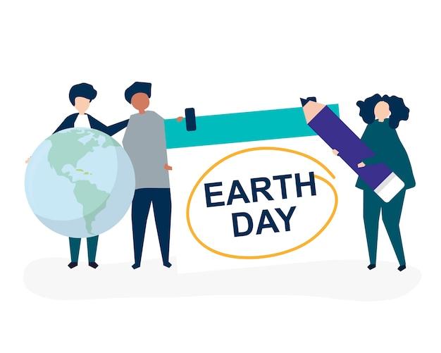 人と地球の日の概念のイラストのキャラクター