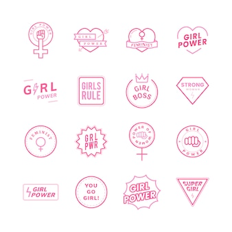 女の子の力の混合エンブレムは、イラストを設定