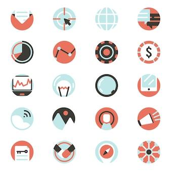 デジタルマーケティングアイコンのベクトルセット