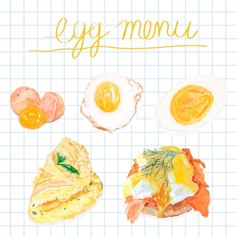 手描きの卵メニューの水彩スタイル