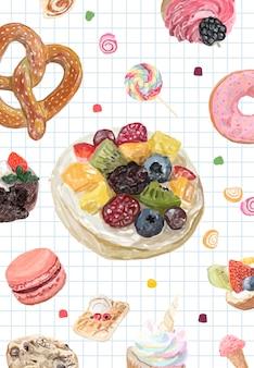 手描きのお菓子コレクションの水彩スタイル