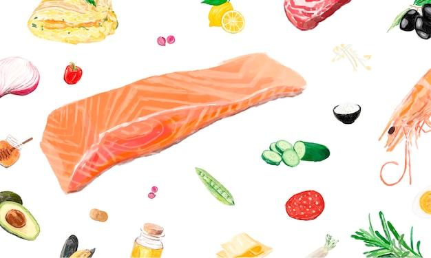 手描きの食材の水彩スタイル