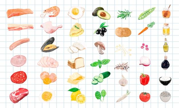 Рисованные ингредиенты для пищевых продуктов акварельный стиль