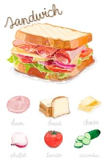 手描きのサンドイッチの水彩スタイル