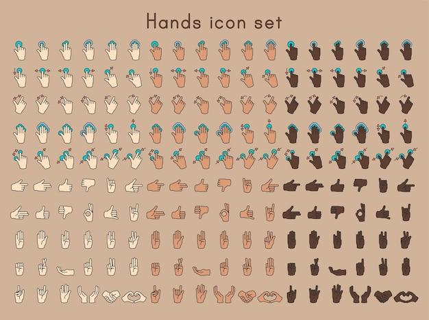 Иллюстрация жестов рук, установленных в тонкой линии