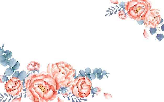 花の装飾と白い挨拶カード