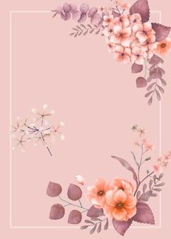 ピンクのテーマ花のウェディングカード