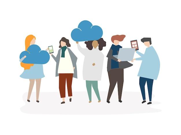 Иллюстрация концепции соединения с облаком аватара людей