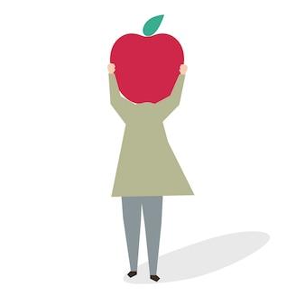 大きな赤いリンゴを持つ女性のイラスト