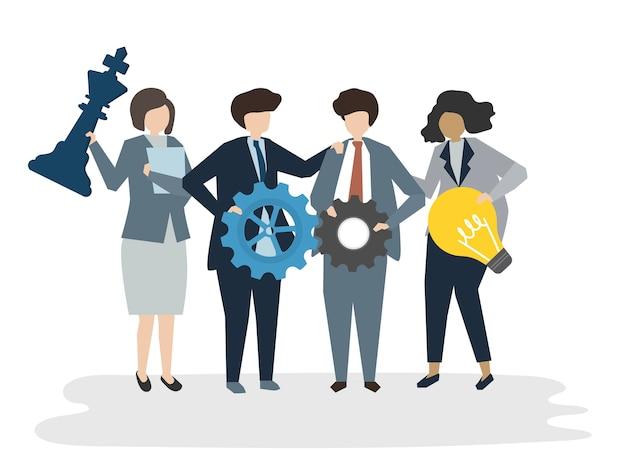 人々のアバタービジネスチームワークコンセプトのイラスト
