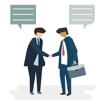 人々のアバタービジネス契約コンセプトのイラスト