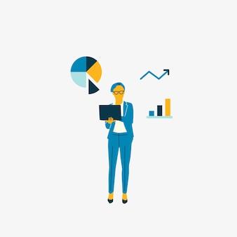 データ分析グラフを持つビジネスの女性