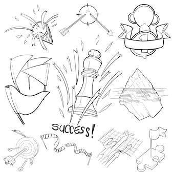 成功の手描きイラストセット