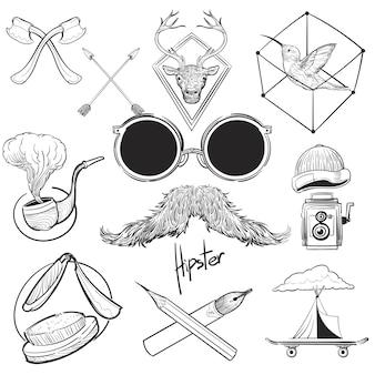 ヒップスタースタイルの手描きイラストセット