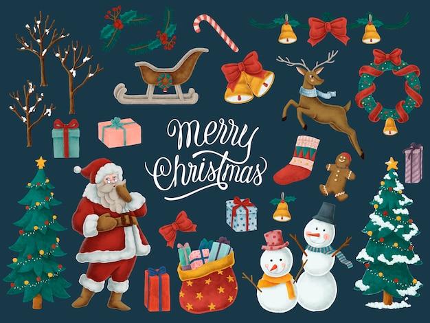 メリークリスマスの手描きのカード