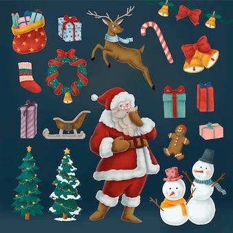 Набор рисованных рождественских иллюстраций