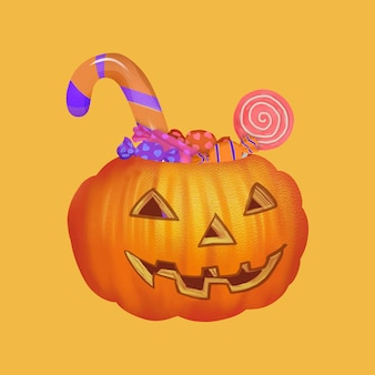Иллюстрация трюка или угощения для хэллоуина