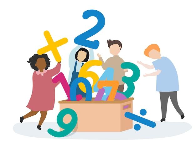 数字と数学を学ぶ子供たち