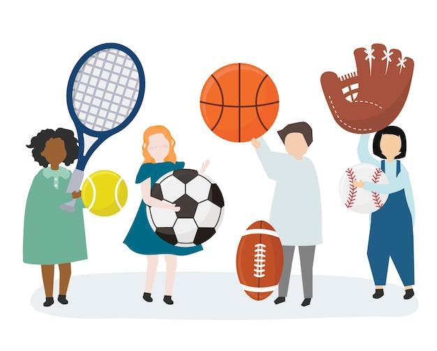 様々なスポーツ用品を持っている人々