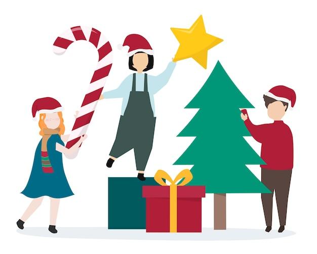 クリスマス休暇の準備をしている人々