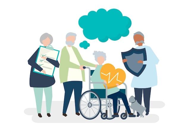 Персонажи старших людей, держащих иконки здравоохранения значок