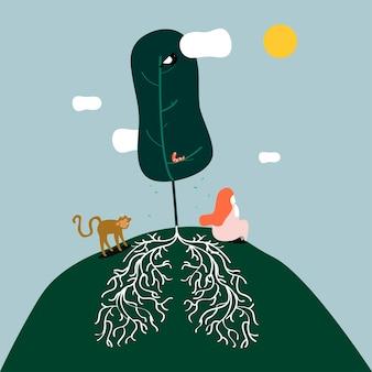 長い根のイラストで木に座っている女性