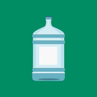白いイラストで隔離された水のボトル