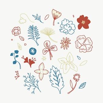カラフルな花と葉のイラスト