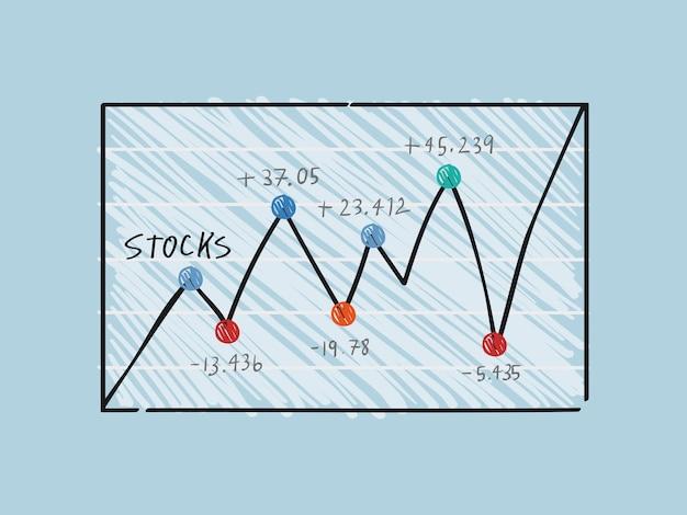 金融株式市場のグラフのイラストの変動
