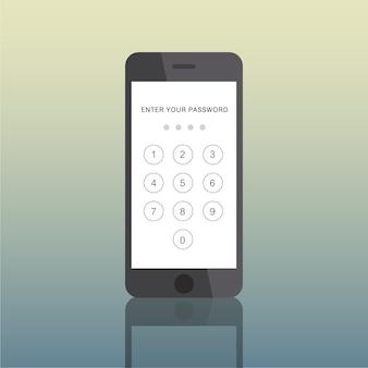 アイコンスマートフォン電子パスコードの概念
