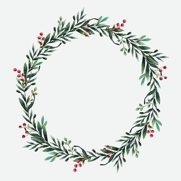 Круглый рождественский венок векторный акварельный стиль