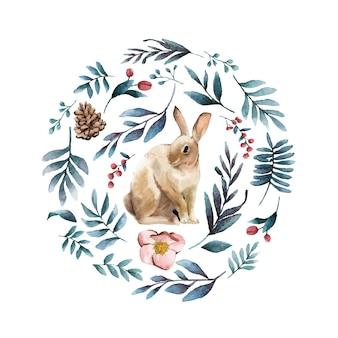 冬の花に囲まれたウサギ
