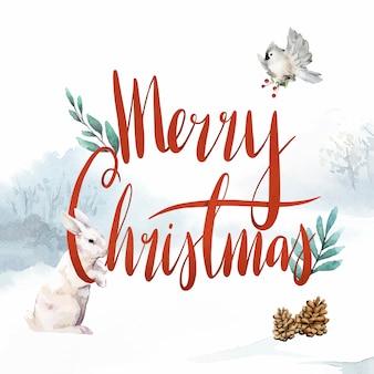 メリークリスマスの水彩タイポグラフィベクトル