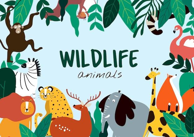 野生動物の漫画のスタイルの動物のテンプレートベクトル