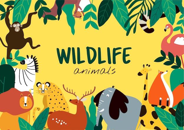 Животные животных животных мультяшный стиль шаблон вектор