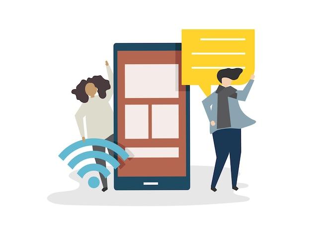 Иллюстрация концепции социальной сети аватара