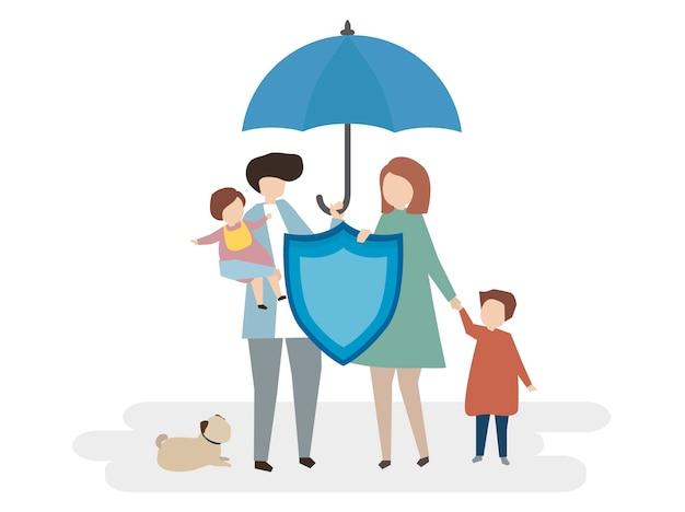 家族生活保険のイラスト